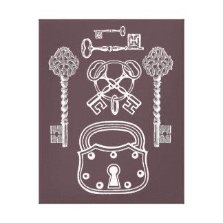 Cerradura y llaves lona envuelta para galerías