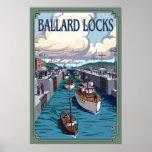 Cerraduras de Ballard - Seattle, poster del viaje