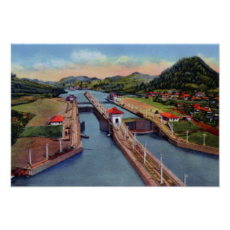 Cerraduras de Pedro Miguel del Canal de Panamá Poster