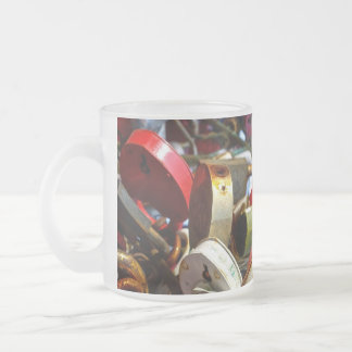 Cerraduras del amor, taza del vidrio esmerilado
