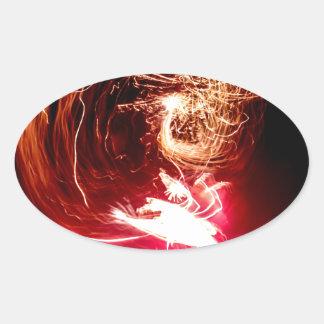 Cerraduras del fuego pegatina ovalada
