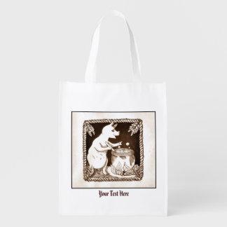 Cerridwen Goddess Pig Cauldron Grocery Bags
