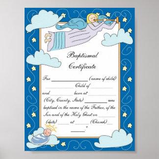 Certificado bautismal póster