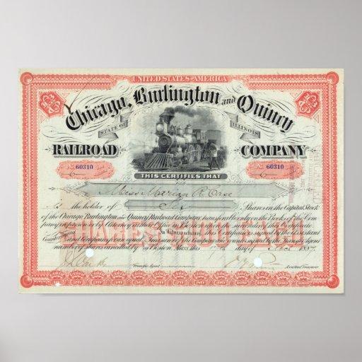 Certificado común 1887 de Chicago Burlington Repro Póster