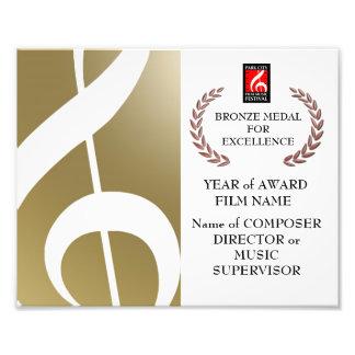 Certificado de bronce del premio fotos