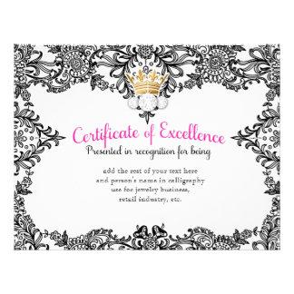 Certificado de coronación 311 en cordón negro membrete personalizado