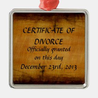 Certificado de divorcio adorno cuadrado plateado