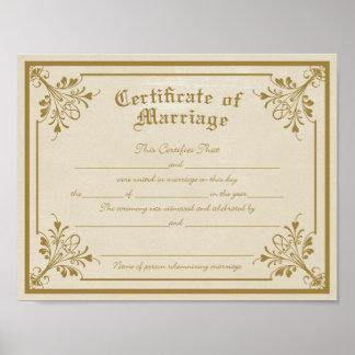 Certificado de impresión del arte de la boda posters