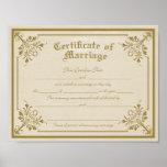 Certificado de impresión del arte de la boda póster