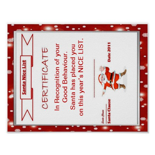 Certificado de la lista de Santa Niza Póster