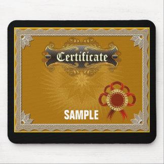 Certificado de la muestra alfombrillas de raton