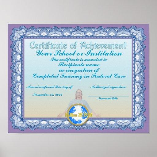 Certificado de logro (cristiano) póster