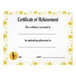 Certificado de logro - estrellas de la danza líric tarjetón