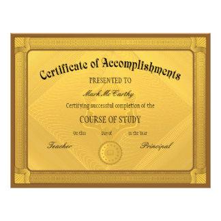 Certificado de plantilla de la realización tarjetas publicitarias