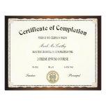 Certificado de plantilla de la realización tarjetón