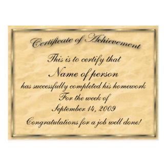 Certificado de plantilla del logro tarjeta postal