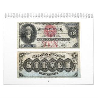Certificado de plata 1878 del billete de banco de  calendario
