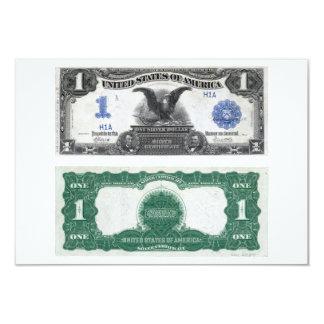 """Certificado de plata 1889 de $1 billetes de banco invitación 3.5"""" x 5"""""""