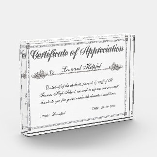 Certificado de premio personalizado aprecio