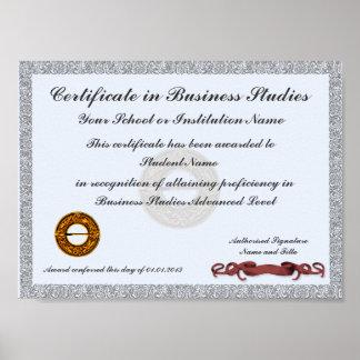 Certificado de premio sujeto del plan de estudios impresiones