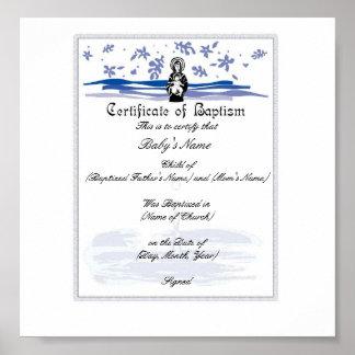 Certificado del bautismo del bebé - muchacho póster