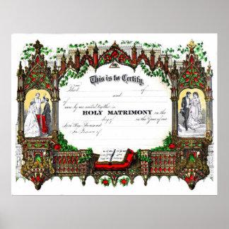 certificado del boda a partir de 1877 posters