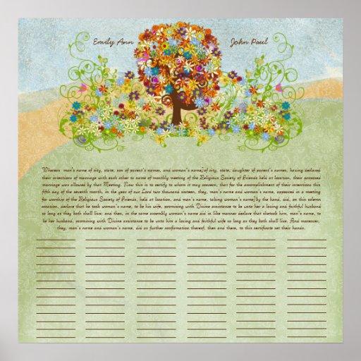 Certificado del boda del Quaker de la impresión de Poster