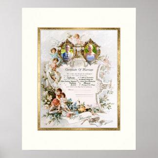 Certificado del boda del vintage de fotografía de póster
