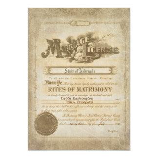 """Certificado del boda del vintage invitación 5"""" x 7"""""""