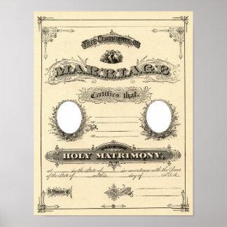 Certificado del boda del vintage póster