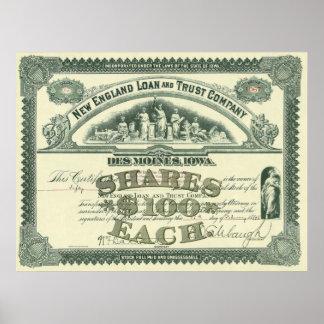 Certificado del capital social de capitales de las póster