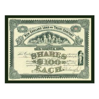 Certificado del capital social de capitales de las tarjeta postal