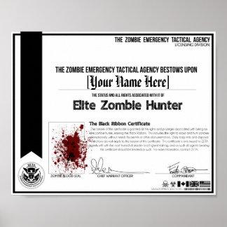 ¡Certificado del cazador del zombi - ZETA! Póster