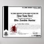 ¡Certificado del cazador del zombi - ZETA! Posters