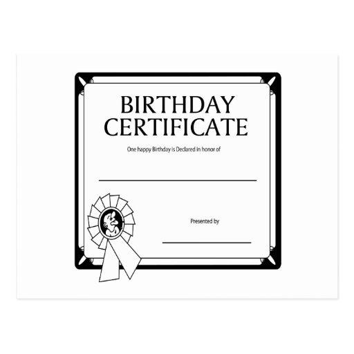 Certificado del cumpleaños postal