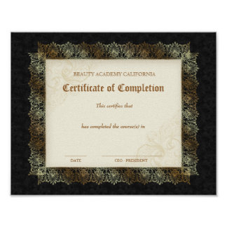 Certificado del diploma de la belleza de negro de  póster
