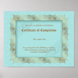 Certificado del diploma de la belleza de oro del a póster