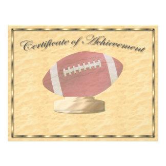 Certificado del fútbol de logro tarjetones
