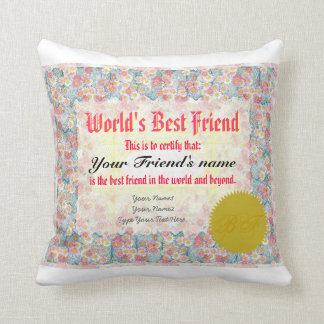 Certificado del mejor amigo del mundo cojín decorativo
