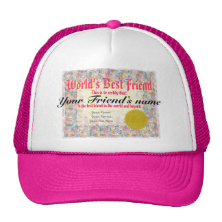 Certificado del mejor amigo del mundo gorras