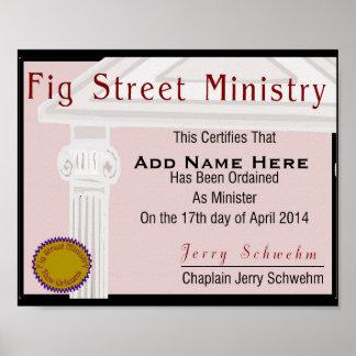 Certificado del miembro del ministerio de la calle póster