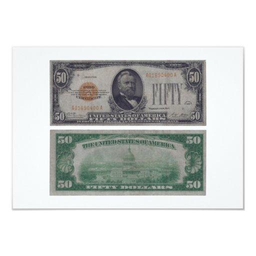 Certificado del oro de 50 Estados Unidos del dólar Invitación 8,9 X 12,7 Cm