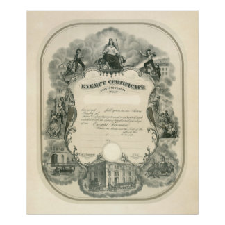 Certificado exento 1898 del bombero poster