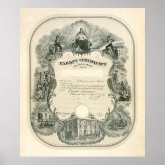 Certificado exento 1898 del bombero póster