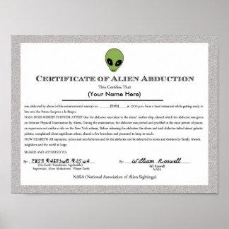 Certificado extranjero de la abducción póster