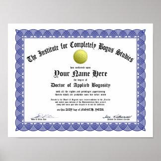 Certificado falso del doctorado - Bogosity aplicad Impresiones