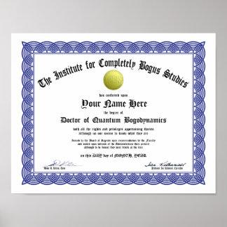 Certificado falso del doctorado - Bogosity aplicad Poster