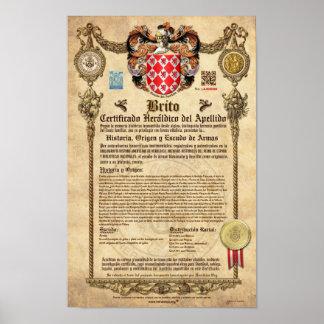"""Certificado Heráldico del Apellido """"BRITO"""" Póster"""