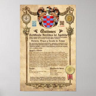 """Certificado Heráldico del Apellido """"QUIÑONES"""" Póster"""
