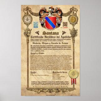 """Certificado Heráldico del Apellido """"SANTANA"""" Póster"""